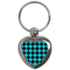 Square2 Black Marble & Turquoise Colored Pencil Key Chains (heart)  by trendistuff