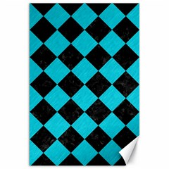 Square2 Black Marble & Turquoise Colored Pencil Canvas 20  X 30   by trendistuff