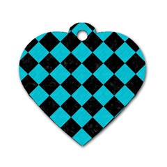 Square2 Black Marble & Turquoise Colored Pencil Dog Tag Heart (one Side) by trendistuff