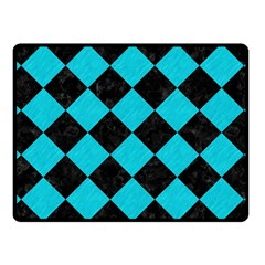 Square2 Black Marble & Turquoise Colored Pencil Fleece Blanket (small) by trendistuff