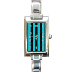 Stripes1 Black Marble & Turquoise Colored Pencil Rectangle Italian Charm Watch by trendistuff