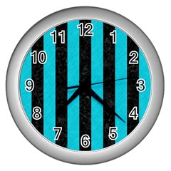 Stripes1 Black Marble & Turquoise Colored Pencil Wall Clocks (silver)