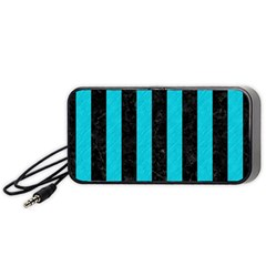 Stripes1 Black Marble & Turquoise Colored Pencil Portable Speaker by trendistuff