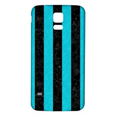 Stripes1 Black Marble & Turquoise Colored Pencil Samsung Galaxy S5 Back Case (white)