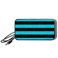 Stripes2 Black Marble & Turquoise Colored Pencil Portable Speaker by trendistuff
