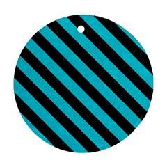 Stripes3 Black Marble & Turquoise Colored Pencil Round Ornament (two Sides) by trendistuff