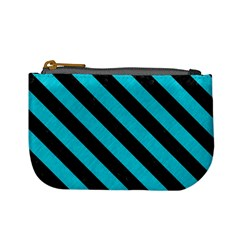 Stripes3 Black Marble & Turquoise Colored Pencil Mini Coin Purses by trendistuff