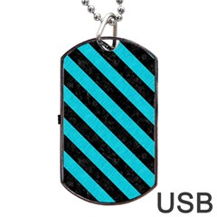 Stripes3 Black Marble & Turquoise Colored Pencil Dog Tag Usb Flash (one Side) by trendistuff