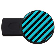 Stripes3 Black Marble & Turquoise Colored Pencil (r) Usb Flash Drive Round (4 Gb) by trendistuff