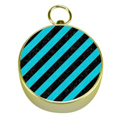 Stripes3 Black Marble & Turquoise Colored Pencil (r) Gold Compasses by trendistuff