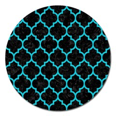 Tile1 Black Marble & Turquoise Colored Pencil (r) Magnet 5  (round) by trendistuff