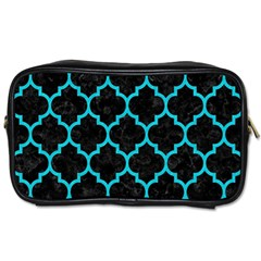 Tile1 Black Marble & Turquoise Colored Pencil (r) Toiletries Bags by trendistuff