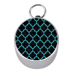 Tile1 Black Marble & Turquoise Colored Pencil (r) Mini Silver Compasses by trendistuff
