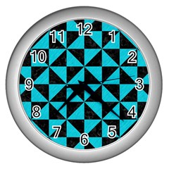 Triangle1 Black Marble & Turquoise Colored Pencil Wall Clocks (silver)  by trendistuff