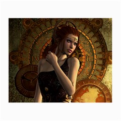 Wonderful Steampunk Women With Clocks And Gears Small Glasses Cloth (2 Side) by FantasyWorld7