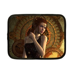 Wonderful Steampunk Women With Clocks And Gears Netbook Case (small)  by FantasyWorld7