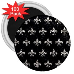 Royal1 Black Marble & Silver Foil 3  Magnets (100 Pack) by trendistuff
