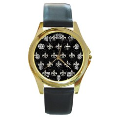 Royal1 Black Marble & Silver Foil Round Gold Metal Watch by trendistuff