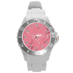 Luxurious Pink Marble Round Plastic Sport Watch (l) by tarastyle