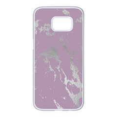 Luxurious Pink Marble Samsung Galaxy S7 Edge White Seamless Case by tarastyle