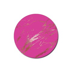 Luxurious Pink Marble Rubber Coaster (round)  by tarastyle