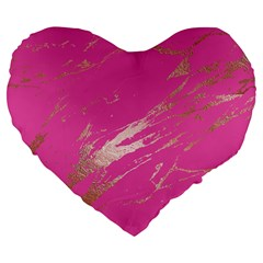 Luxurious Pink Marble Large 19  Premium Flano Heart Shape Cushions by tarastyle