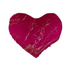Luxurious Pink Marble Standard 16  Premium Flano Heart Shape Cushions by tarastyle