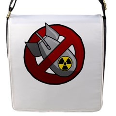 No Nuclear Weapons Flap Messenger Bag (s) by Valentinaart