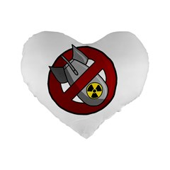 No Nuclear Weapons Standard 16  Premium Flano Heart Shape Cushions by Valentinaart