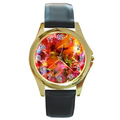 Abstract Acryl Art Round Gold Metal Watch by tarastyle