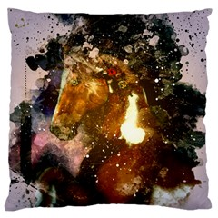 Wonderful Horse In Watercolors Large Flano Cushion Case (two Sides) by FantasyWorld7