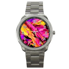 Abstract Acryl Art Sport Metal Watch