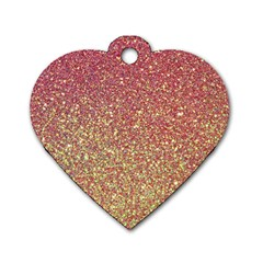 Rose Gold Sparkly Glitter Texture Pattern Dog Tag Heart (one Side) by paulaoliveiradesign