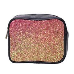 Rose Gold Sparkly Glitter Texture Pattern Mini Toiletries Bag 2 Side by paulaoliveiradesign