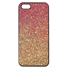 Rose Gold Sparkly Glitter Texture Pattern Apple Iphone 5 Seamless Case (black) by paulaoliveiradesign
