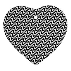 Black And White Waves Illusion Pattern Heart Ornament (two Sides) by paulaoliveiradesign