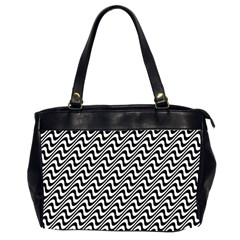 Black And White Waves Illusion Pattern Office Handbags (2 Sides)  by paulaoliveiradesign