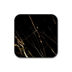 Black Marble Rubber Coaster (square)  by 8fugoso