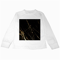 Black Marble Kids Long Sleeve T Shirts by 8fugoso