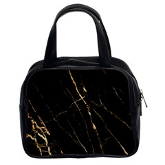 Black Marble Classic Handbags (2 Sides) by 8fugoso