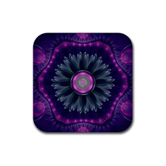 Beautiful Hot Pink And Gray Fractal Anemone Kisses Rubber Square Coaster (4 Pack)  by jayaprime