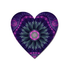 Beautiful Hot Pink And Gray Fractal Anemone Kisses Heart Magnet by jayaprime