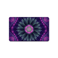 Beautiful Hot Pink And Gray Fractal Anemone Kisses Magnet (name Card) by jayaprime