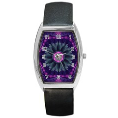 Beautiful Hot Pink And Gray Fractal Anemone Kisses Barrel Style Metal Watch by jayaprime