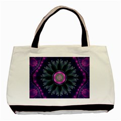 Beautiful Hot Pink And Gray Fractal Anemone Kisses Basic Tote Bag (two Sides) by jayaprime