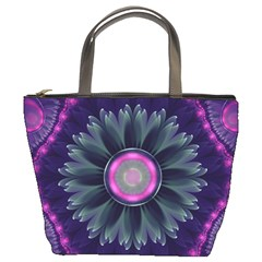 Beautiful Hot Pink And Gray Fractal Anemone Kisses Bucket Bags by jayaprime