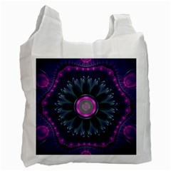 Beautiful Hot Pink And Gray Fractal Anemone Kisses Recycle Bag (two Side)  by jayaprime