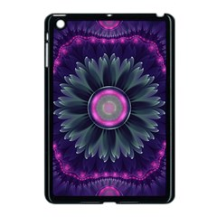 Beautiful Hot Pink And Gray Fractal Anemone Kisses Apple Ipad Mini Case (black) by jayaprime