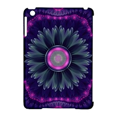 Beautiful Hot Pink And Gray Fractal Anemone Kisses Apple Ipad Mini Hardshell Case (compatible With Smart Cover) by jayaprime