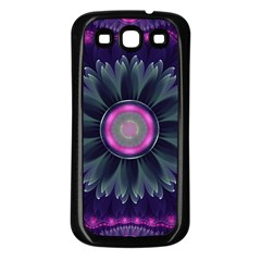 Beautiful Hot Pink And Gray Fractal Anemone Kisses Samsung Galaxy S3 Back Case (black) by jayaprime